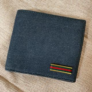 グッチ(Gucci)の美品 グッチ 二つ折り財布 デニム×レザー(折り財布)