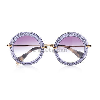 ミュウミュウ(miumiu)の【Miu Miu】ラウンドサングラス【紫グリッター】(サングラス/メガネ)