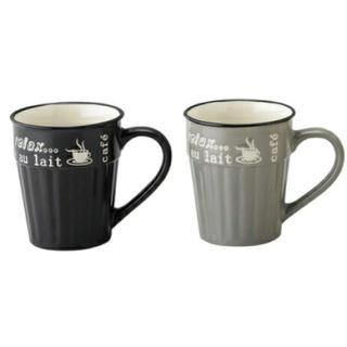 フランフラン(Francfranc)の新品 カフェマグ マグカップ グレー ブラック 2点セット サボテン 観葉植物(グラス/カップ)