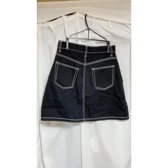 WEGO(ウィゴー)のデニム台形ミニスカート ブラック レディースのスカート(ミニスカート)の商品写真