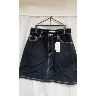 WEGO - デニム台形ミニスカート ブラック