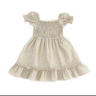 Caramel baby&child  - Liilu Smocked dress_Sandy stripes 4/6Y
