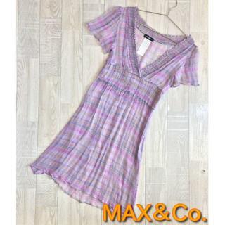 マックスアンドコー(Max & Co.)の【MAX&Co.】シルク100%薄手ドレスワンピース パープル Mサイズ 40(ひざ丈ワンピース)