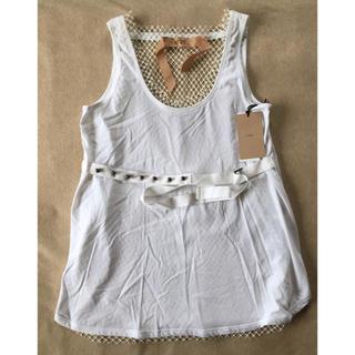 マルタンマルジェラ(Maison Martin Margiela)の白42新品 N°21 レース タンクトップ Tシャツ ジレ ヌメロ レディース(Tシャツ(半袖/袖なし))