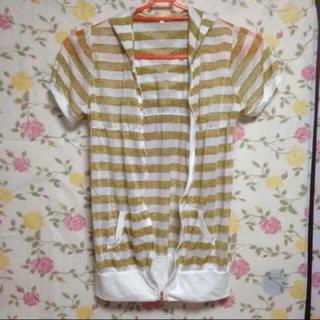 ボーダー( ラメ )フード付きパーカー(Tシャツ(半袖/袖なし))