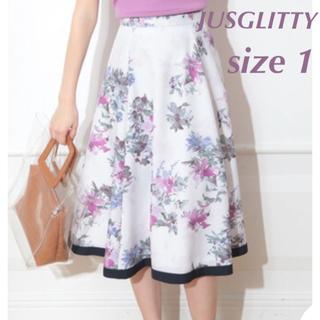 ジャスグリッティー(JUSGLITTY)のJUSGLITTY フラワープリントフレアスカート(ひざ丈スカート)