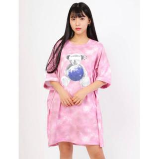 アンクルージュ(Ank Rouge)のankrouge くま ピンク BIGシャツ(Tシャツ(半袖/袖なし))