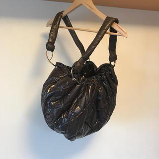 モンクレール(MONCLER)の美品 モンクレール キルティング バッグ レザー ダウン ナイロン ブラウン(ボストンバッグ)