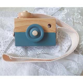 mii様専用 ブルー 木製 カメラ おもちゃ 北欧 アナログ デジタル (知育玩具)