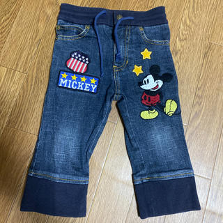 Disney - ミッキー 刺繍 デニム 100
