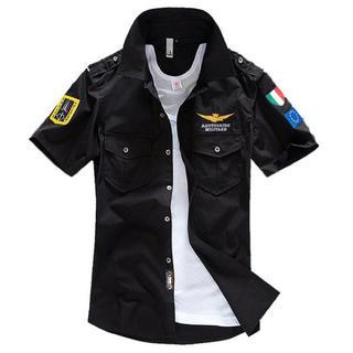 ALPHA INDUSTRIES - ブラック MA-1半袖シャツ