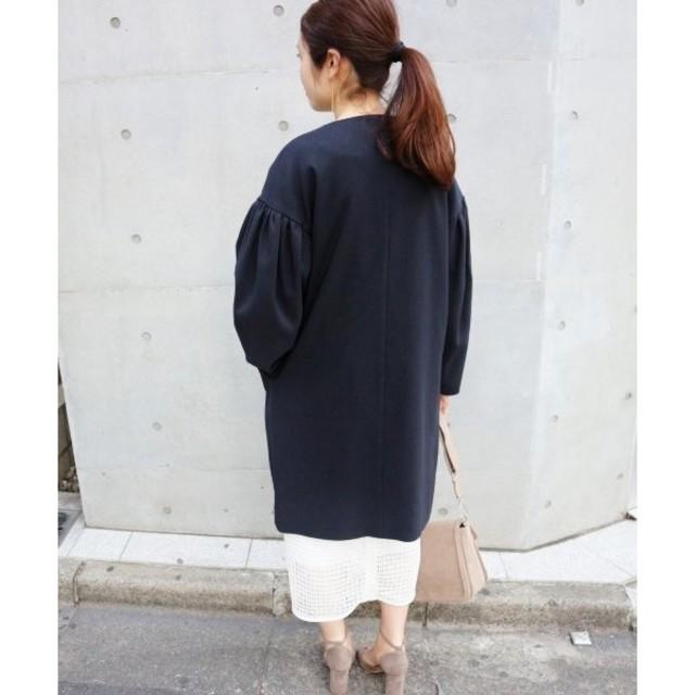 IENA(イエナ)のIENA ギャザースリーブコート ネイビー 38 レディースのジャケット/アウター(ロングコート)の商品写真