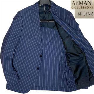 アルマーニ コレツィオーニ(ARMANI COLLEZIONI)のJ3534 美品 アルマーニ 極薄手 ストライプサマージャケット ネイビー 50(テーラードジャケット)