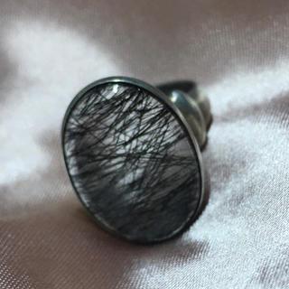 希少天然石 5Aブラックルチル シルバーリング大玉ルチル指輪 オーバル宝石リング(リング(指輪))