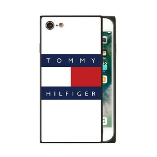 TOMMY HILFIGER - トミーフィルフィガー スクエア ガラスケース iPhoneケース v26x