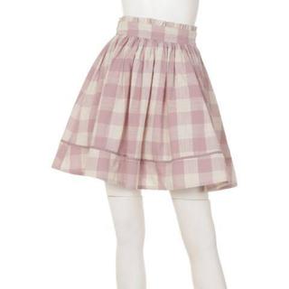アンクルージュ(Ank Rouge)のAnk Rouge ウエストリボンブロックチェックギャザースカート ピンク(ミニスカート)