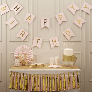 フランフラン(Francfranc)の誕生日ガーランドバースデーパーティー飾り付けDIYデコレーションピンクゴールド(その他)
