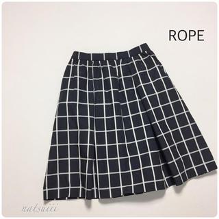 ロペ(ROPE)のROPE ロペ .  ウインドウペンチェック モノトーン フレア スカート(ひざ丈スカート)