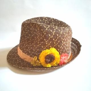 送料無料☆リボンフラワー  ヒマワリとハイビスカスのサマーハット(帽子)