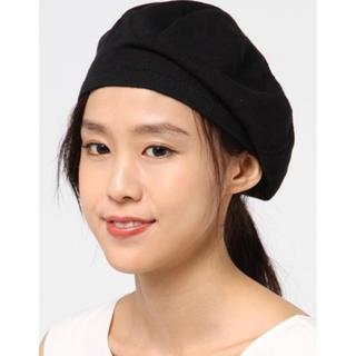 アニエスベー(agnes b.)のアニエンスベー agnes b.  コットン ベレー帽 ブラック(ハンチング/ベレー帽)