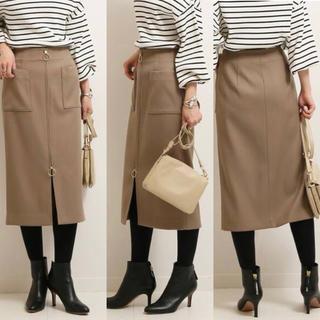 ノーブル(Noble)のNOBEL T/Wダブルクロスフープジップタイトスカート カーキ 36 ほぼ新品(ひざ丈スカート)