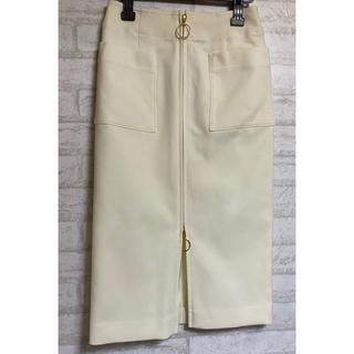 ノーブル(Noble)のNOBEL T/Wダブルクロスフープジップタイトスカート ホワイト 36(ひざ丈スカート)