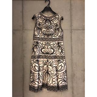 グレースコンチネンタル(GRACE CONTINENTAL)のグレースコンチネンタル コード刺繍フレアワンピース ドレス(ミディアムドレス)