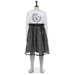 ANNA SUI mini - ネコTシャツ×ギンガムチュールスカートドッキングワンピース