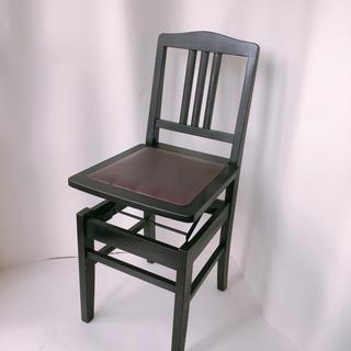 ピアノ椅子 トムソン 黒 アップライト グランドピアノ 背もたれ 椅子(電子ピアノ)