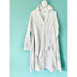 MUJI (無印良品) - シャツワンピ ロングシャツ 白 コットン  日焼け対策にも