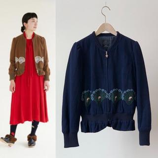 ミナペルホネン(mina perhonen)のmina perhonenミナペルホネンpeacock 刺繍 ジャケット 36(ブルゾン)