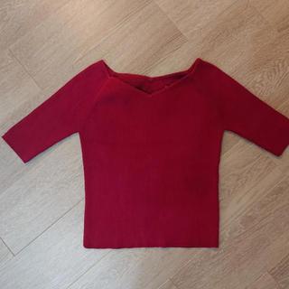 ジャスグリッティー(JUSGLITTY)のジャスグリッティー バック刺繍ニット半袖トップス(ニット/セーター)