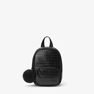 ザラ(ZARA)の新品未使用ZARAミニレザー風バッグパックリュックサックポンポン付き黒(リュックサック)