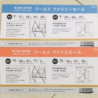 アンタイトル(UNTITLED)のWORLDの株主優待券1500円分&ファミリーセール招待券(ショッピング)