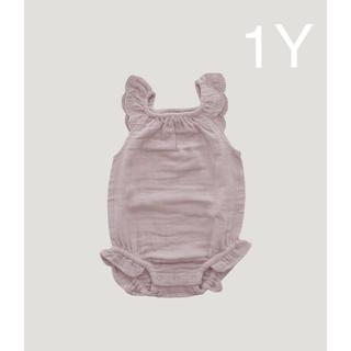 Caramel baby&child  - 【新品未使用】jamie kay 肩フリル ロンパース 1Y くすみピンク