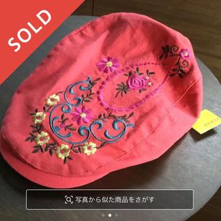 コキュ(COCUE)の未使用新品タグ付き★カラフルな刺繍入りコットンのハンチング帽★コキュcocue(ハンチング/ベレー帽)