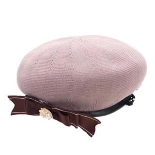 アクシーズファム(axes femme)の春夏用 ベレー帽 axes femme リボンブローチ付サーモベレー ピンク(ハンチング/ベレー帽)