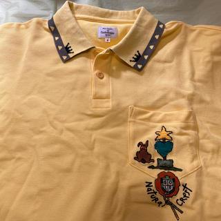 カステルバジャック(CASTELBAJAC)のカステルバジャツク黄色半袖ポロシャツ〜サイズ4〜ポケット、アプリケ刺繍絵付き(ポロシャツ)