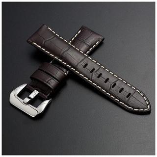 パネライ(PANERAI)のパネライ向け イタリア本革 ダークブラウン アイボリーステッチ 24mm(レザーベルト)