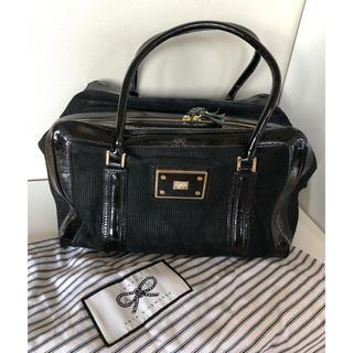 ANYA HINDMARCH - アニヤハインドマーチ  エナメル スエードボストン 黒 保存袋付き