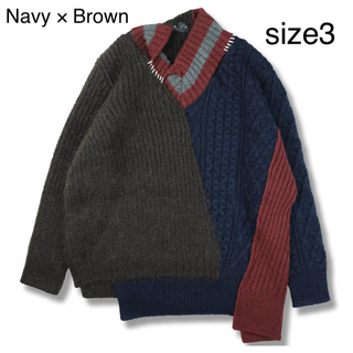 kolor - kolor 20AW ニット Navy× Brown Size3