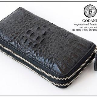 新品 本革  ゴダンspcw8055cpBKクロコWラウンド財布(長財布)