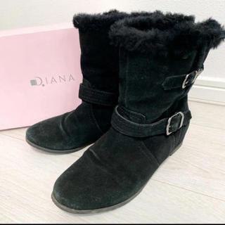 ダイアナ(DIANA)の美品!定価22000円 ダイアナ 23.0  ブラック モコモコ ブーツ(ブーツ)
