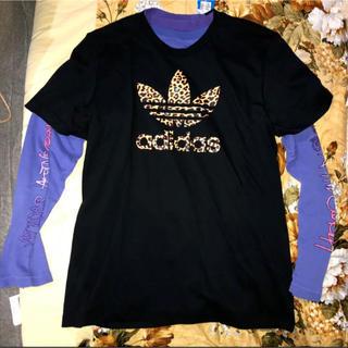 アディダス(adidas)のストリート系adidasoriginalのロンTパープル色&レオパード柄ロゴT(Tシャツ/カットソー(半袖/袖なし))