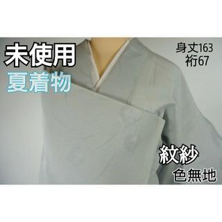 未使用【夏】紋紗 色無地 一つ紋 正絹 白銅色 グレー 水色 520(着物)