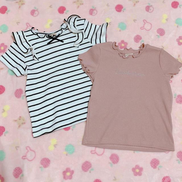 しまむら(シマムラ)のしまむら♡Tシャツ2枚100 新品 キッズ/ベビー/マタニティのキッズ服女の子用(90cm~)(Tシャツ/カットソー)の商品写真