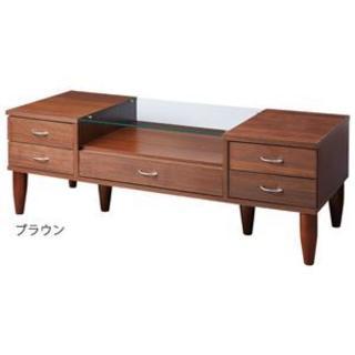 引出付 ガラス天板テーブル/ローテーブル 【幅120cm ブラウン】 強化ガラス(ローテーブル)