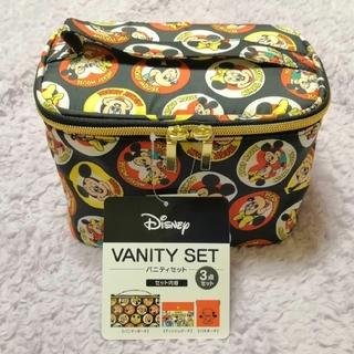 ディズニー(Disney)の新品タグ付きミッキーバニティーポーチ&ティッシュポケット&バネポーチの3点セット(メイクボックス)