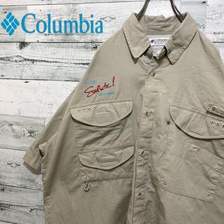 Columbia - 【激レア】コロンビア☆PFG 刺繍ロゴ ベージュ フィッシングシャツ 90s