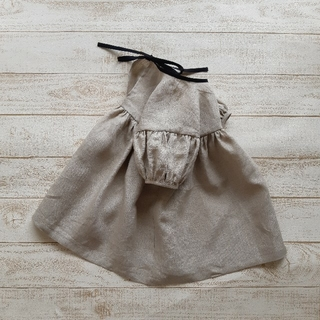 Caramel baby&child  - ハンドメイド受注生産[90~110]リネンのギャザースリーブワンピース 5部袖丈